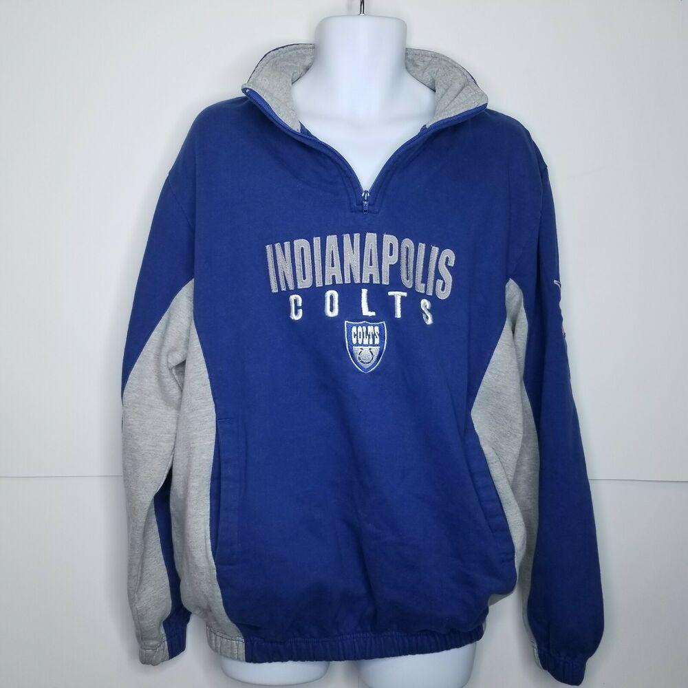 Nfl Men S Sz L Indianapolis Colts Navy Blue Quarter Zip Football Sweatshirt Nfl Indianapoli Football Sweatshirt Long Sleeve Shirt Men Mens Sleeveless Shirts [ 1000 x 1000 Pixel ]