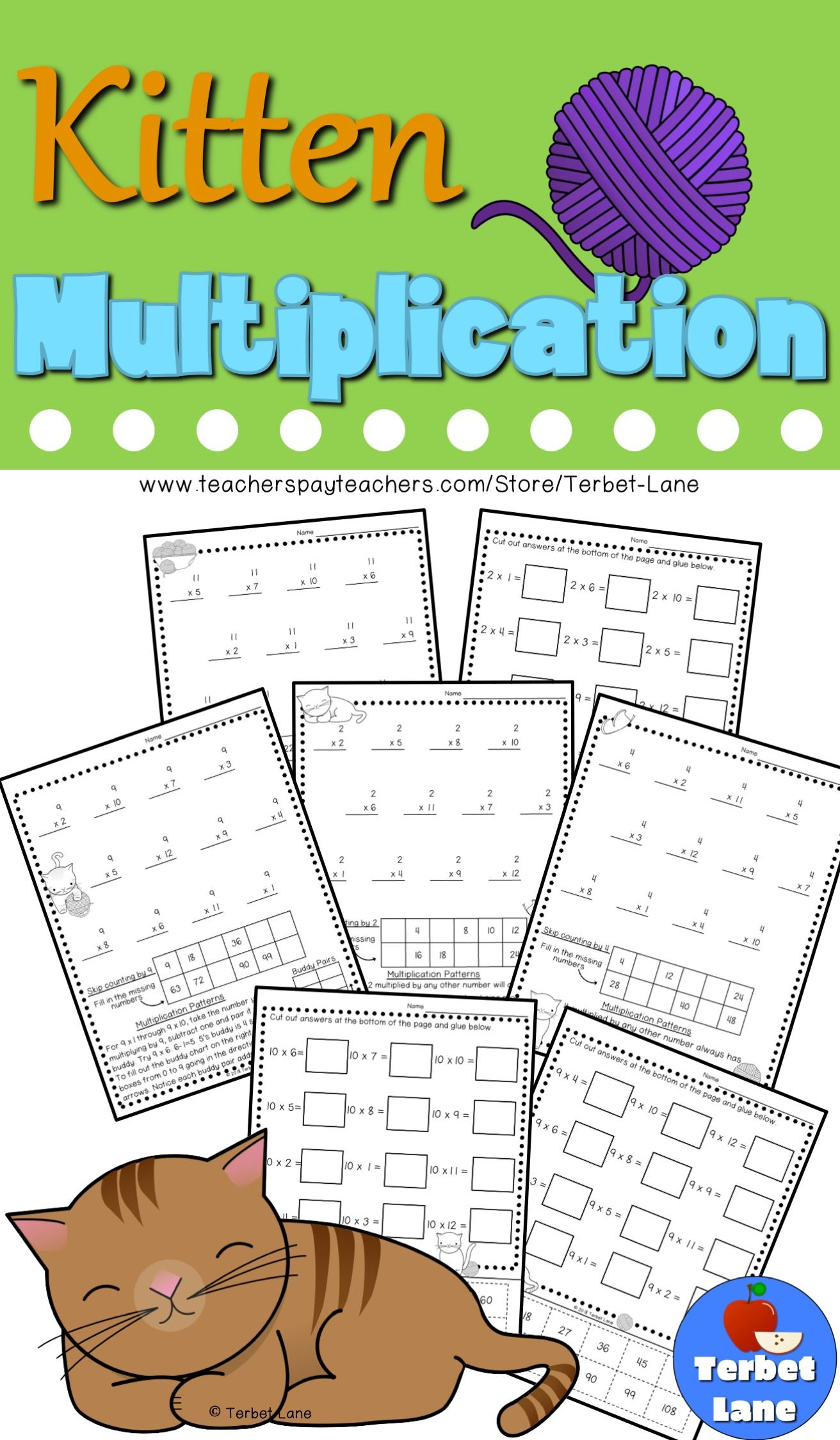 Kitten Multiplication Worksheets
