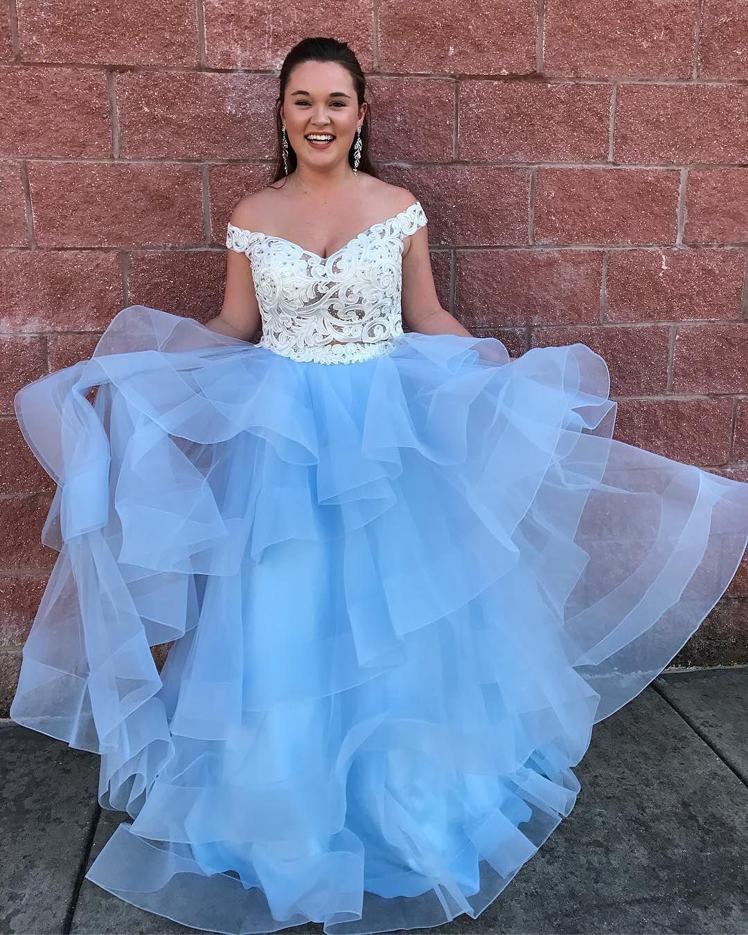 Off shoulder white and blue long prom dress from dreamdressy in
