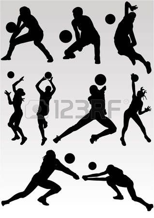 Volleyball Vector Of Playing Volleyball Volleyball Silhouette Volleyball Images Volleyball