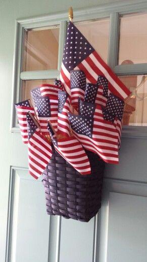 Patriotic door decor. Goodwill basket dollar store flags a few odds u0026 ends from the house u003d this!! & Patriotic door decor. Goodwill basket dollar store flags a few ...