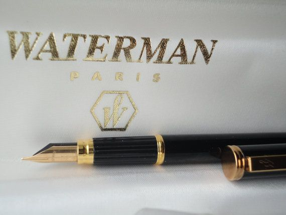 Waterman Fountain Pen Black Lacquer Vintage 18k Gold