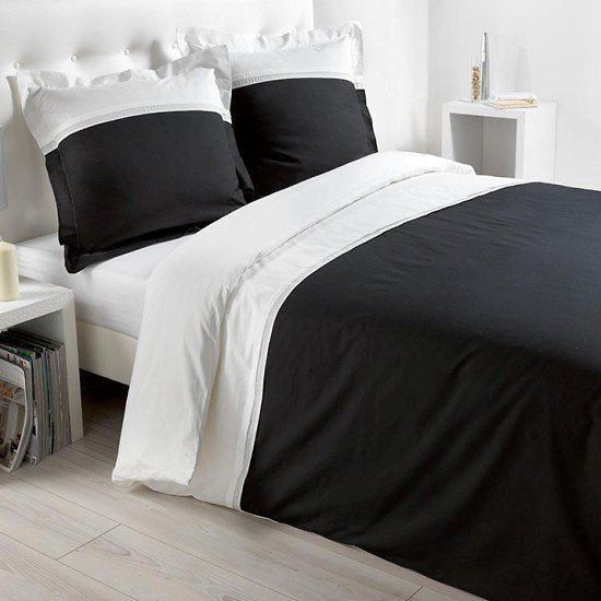 housse de couette et deux taies d 39 oreiller duoline blanc noir. Black Bedroom Furniture Sets. Home Design Ideas