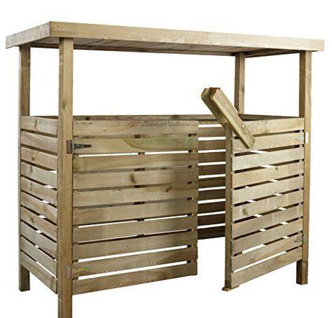 Mulltonnenbox Holzunterstand Mulltonnenhauschen Tripple L196 X B97 X H182 Cm Mulltonnenhauschen Mulltonnenbox Mullhauschen