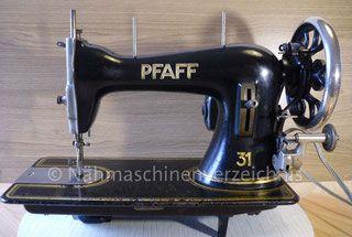 Pfaff 31, Geradstich – Haushaltsnähmaschine, Vorrichtung für Anbaumotor vorhanden, Fußantrieb möglich, Hersteller: G. M. Pfaff AG, Kaiserslautern (Bilder: I. Naumann)