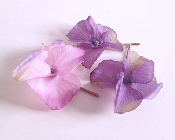 Purple flower bobby pin set floral bobby pins by WoodlandBlossoms