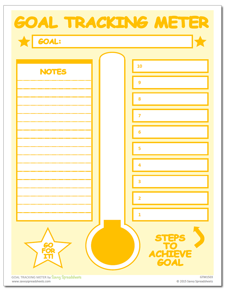 Goal Tracking Meter - Excel Template | Pinterest | Goal, Template ...