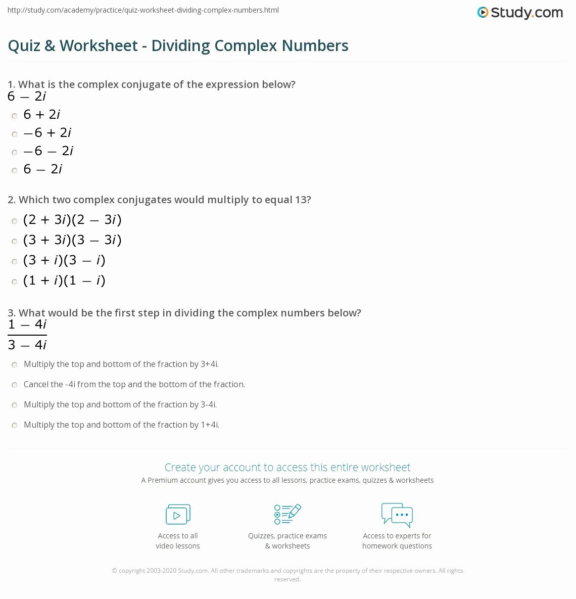 Complex Numbers Worksheet In