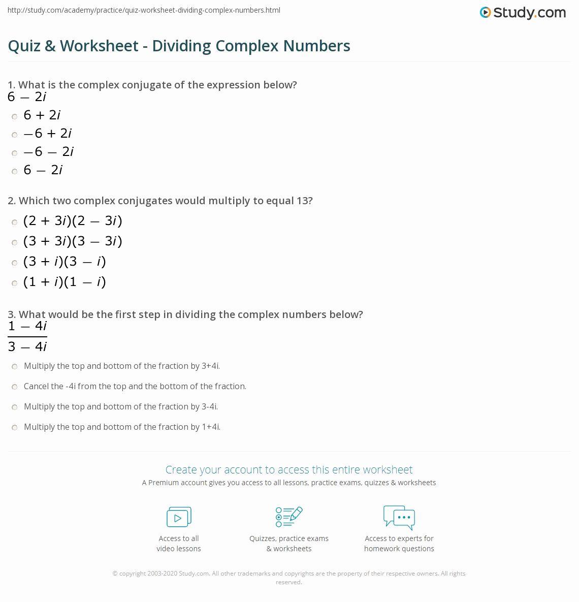 Complex Numbers Worksheet In