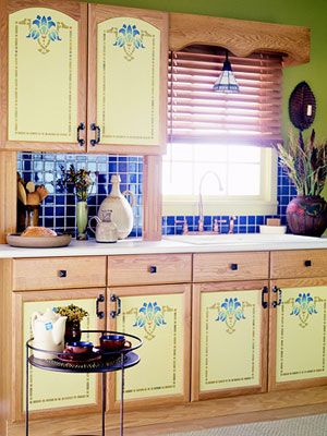 painted and stenciled kitchen cabinets | stenciling, kitchens and