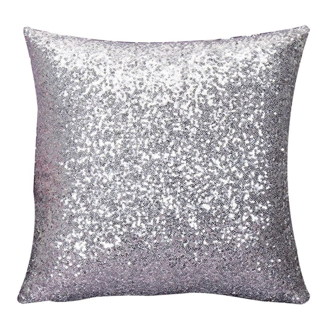amazon: stylish comfy solid color sequins cushion cover throw