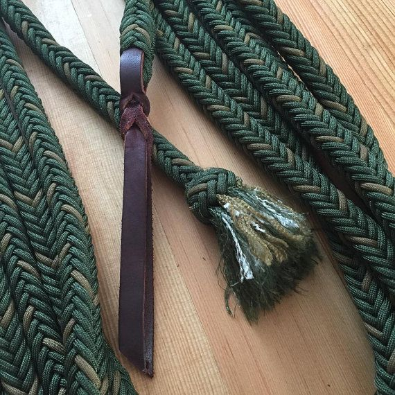 22 39 Drab Green With Coyote 12 Strand Paracord Mecate With Latigo Popper Paracord Braids Horse Diy Reins