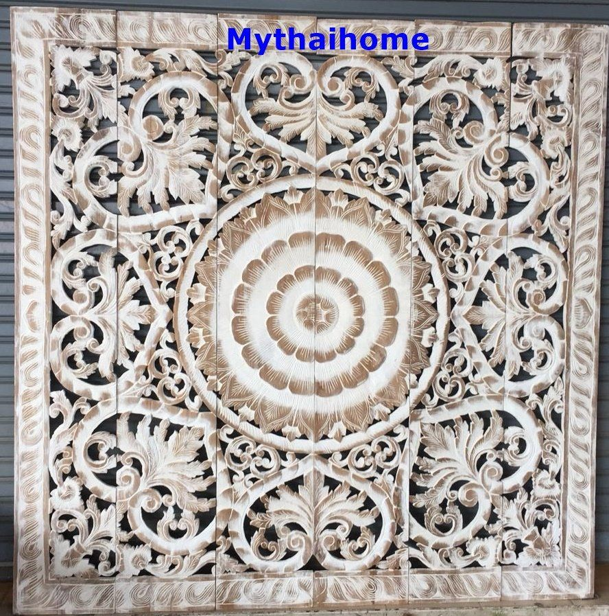Ft large thai teak wood wall art king size bed sculpture bohemian