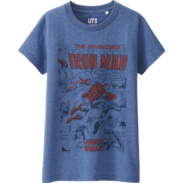 019559b0 UNIQLO Women's Marvel Collection Short Sleeve Graphic T-Shirt ($15) ❤ liked  on Polyvore featuring blue, comic book and uniqlo