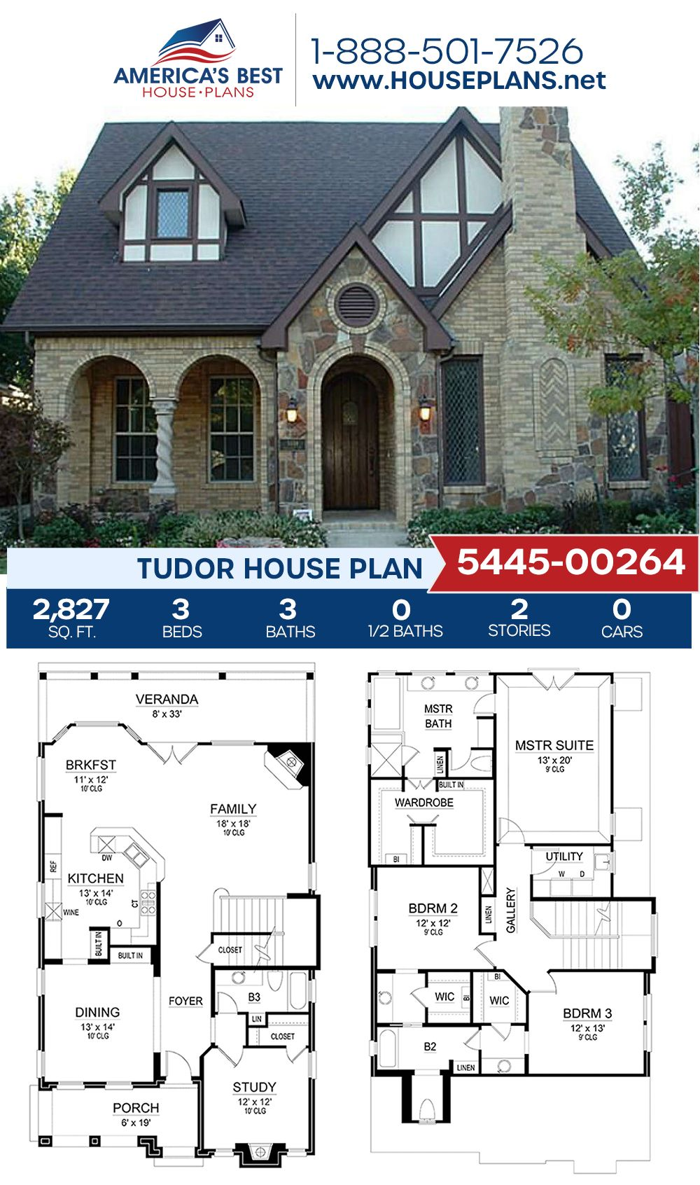 House Plan 5445 00264 Tudor Plan 2 827 Square Feet 3 Bedrooms 3 Bathrooms In 2021 Sims House Design Dream House Plans New House Plans