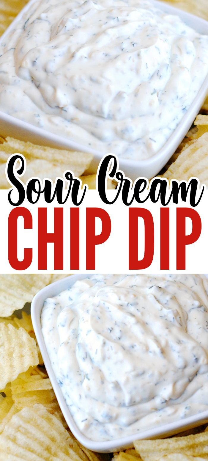 Yummy & Easy Sour Cream Chip Dip recipe for potato chips! For parties, game day, or get-togethers! It uses a full 16-ounce container of sour cream + 4 simple ingredients. #chipdip #diprecipe #partyfood