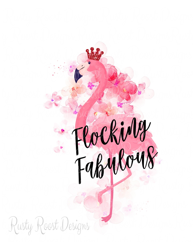 not svg Watercolor Flocking Fabulous Flamingo Flowers JPG PNG cameo clipart cricut instant download silhouette sublimation graphics