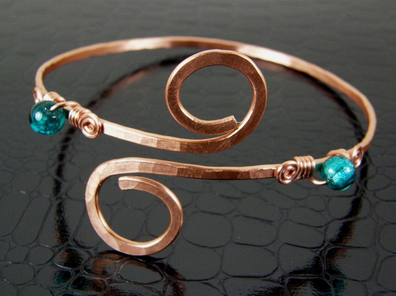 Womens Copper Upper Arm Cuff Bracelet Teal, Aqua Hand Crafted