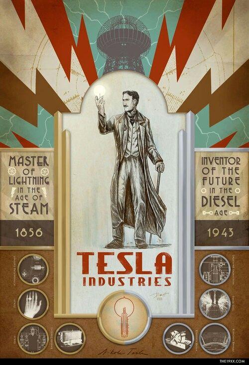 Tesla Industries Print From The Adventures Of The 19xx Steampunk Tendencies Dieselpunk Nikola Tesla