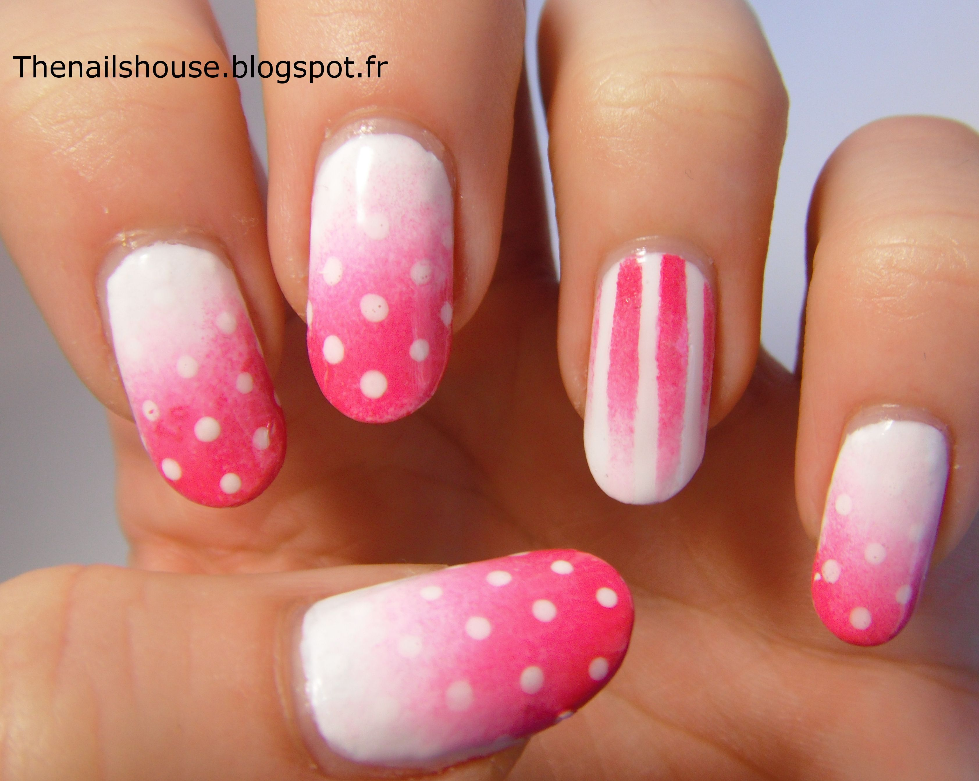 Pink & White, dots & stripes nail art !