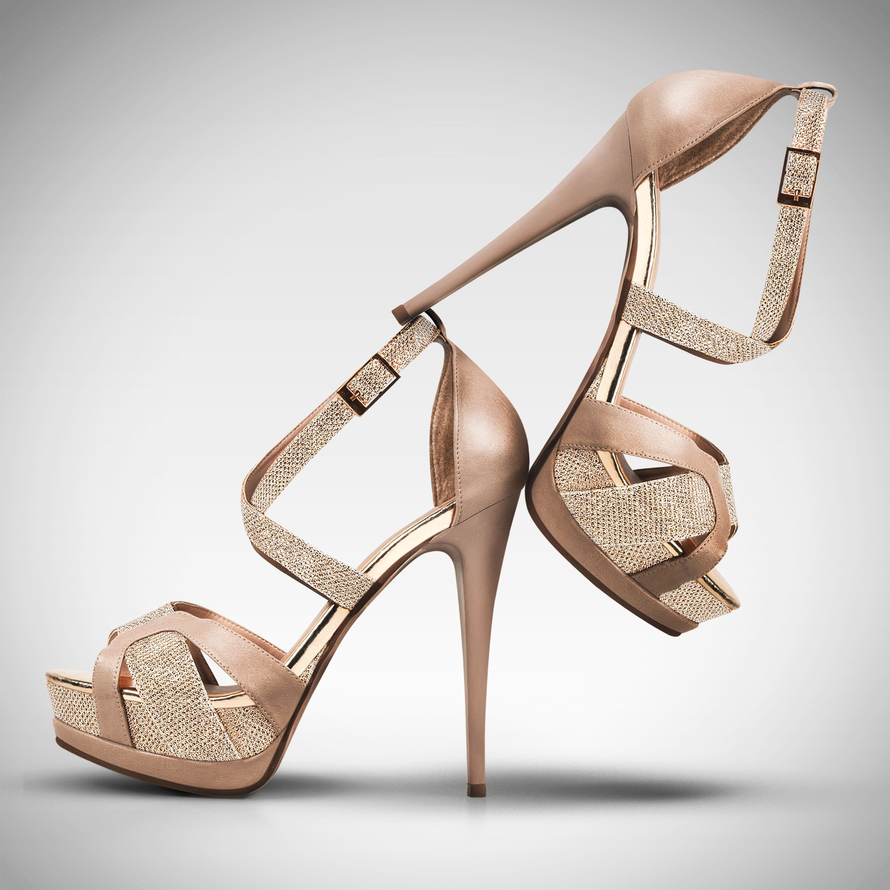 Oh So Innocent Square Toe Heel Sandals - Nude, Shoes