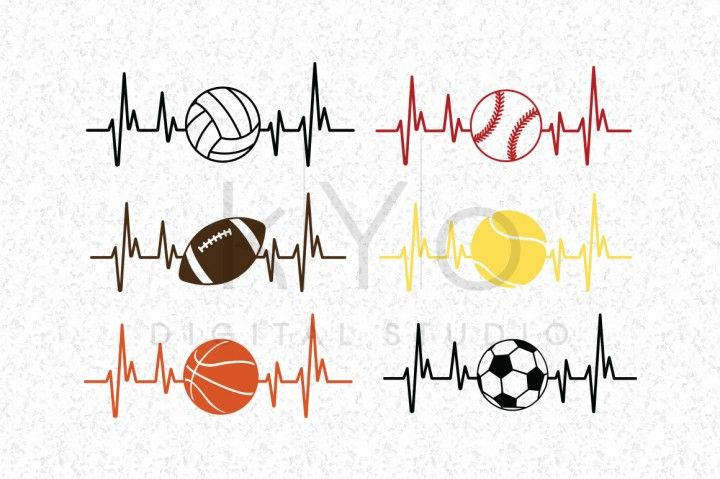 Heart Beat Sport Basketball Football Soccer Baseball Volleyball Tennis Ball Svg Dxf Png Eps Studio3 Files For Football Soccer Volleyball Football Mom