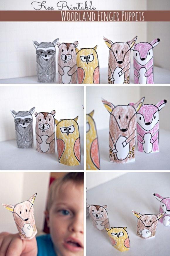 Free Printable Woodland Animal Finger Puppets! #kidscrafts ...