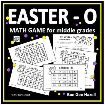 easter math game for middle grades easter o middle school maths