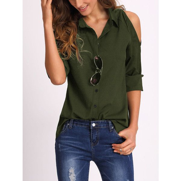 ae45f684d051f Army Green Open Shoulder Blouse ( 13) ❤ liked on Polyvore featuring tops
