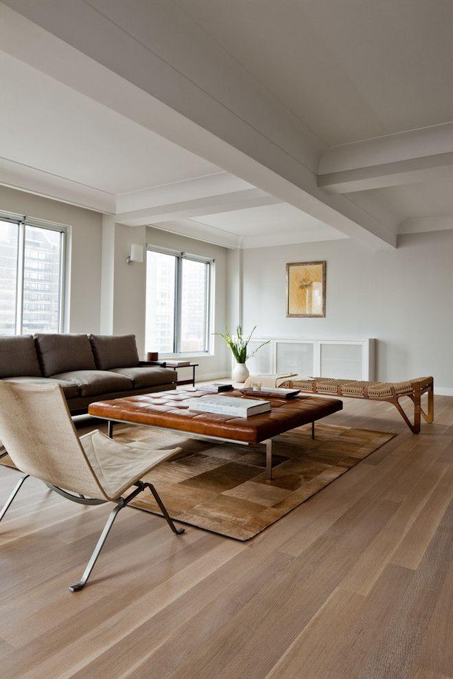 White Oak Floors Living Room Contemporary With None White Oak