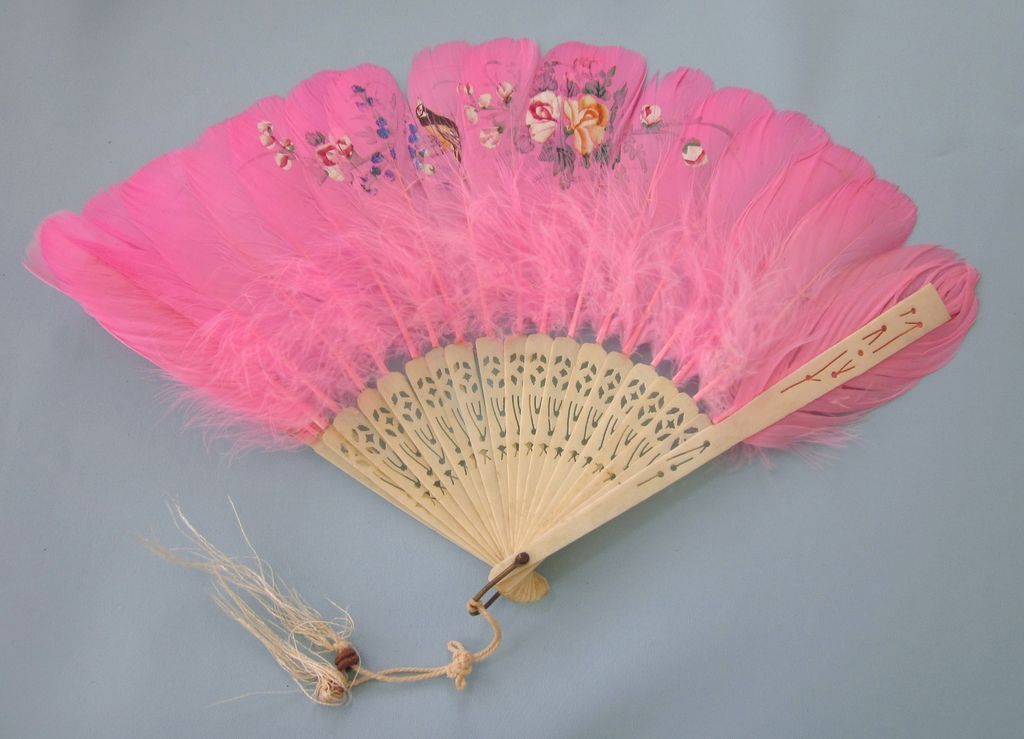 Vintage Celluloid and Hand Painted Pink Feather Hand Fan from Del Mar Classique…