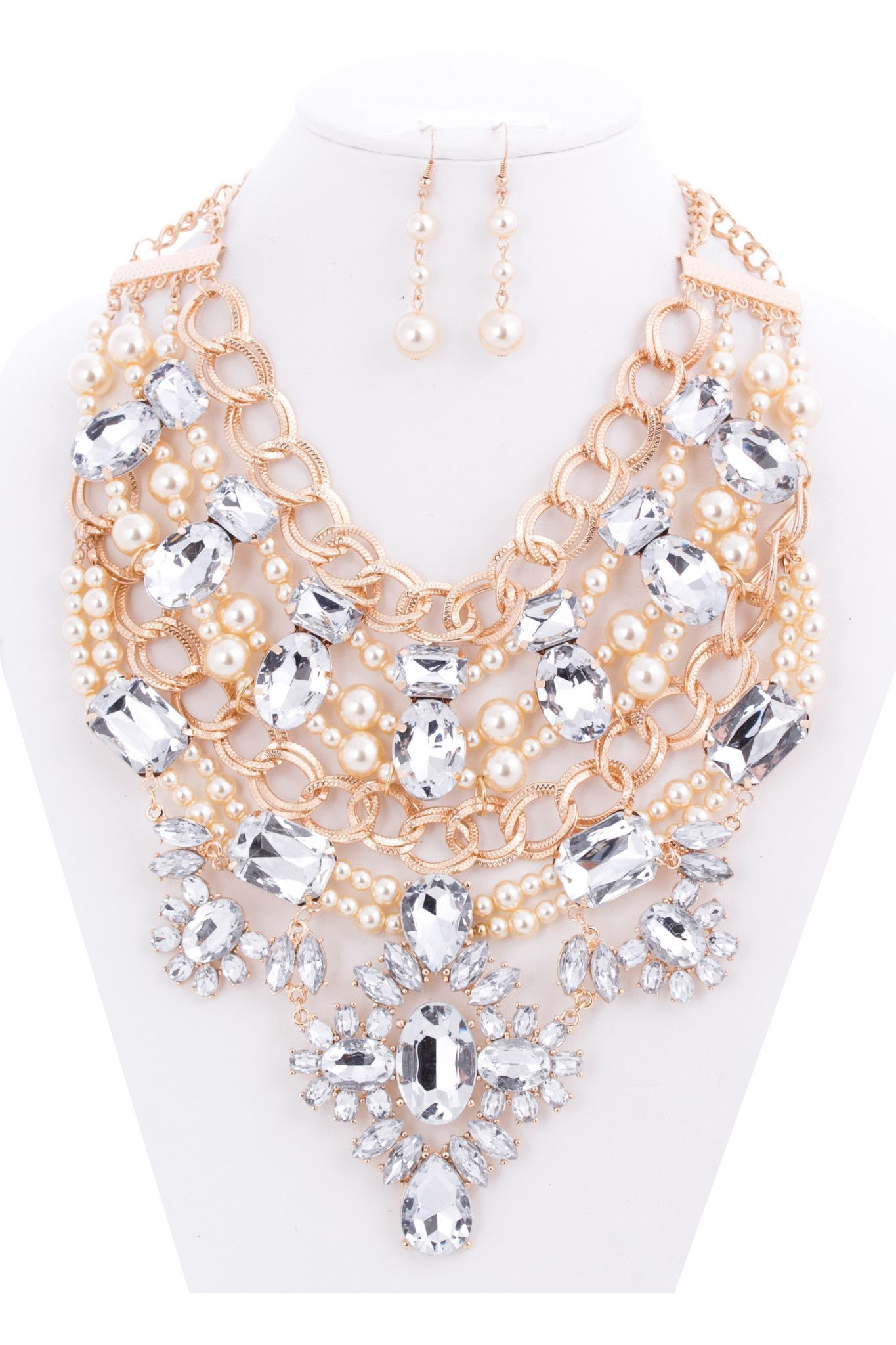 Christina jewel statement necklace and earrings set earring set