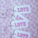 Eight Hand Stamped 'Love' Gift Tags