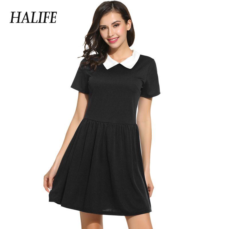 Abito nero Con Colletto Bianco Manica Corta Vestito Da Estate Scuola di  Stile di Gusto Squisito ac0abf4f2d0