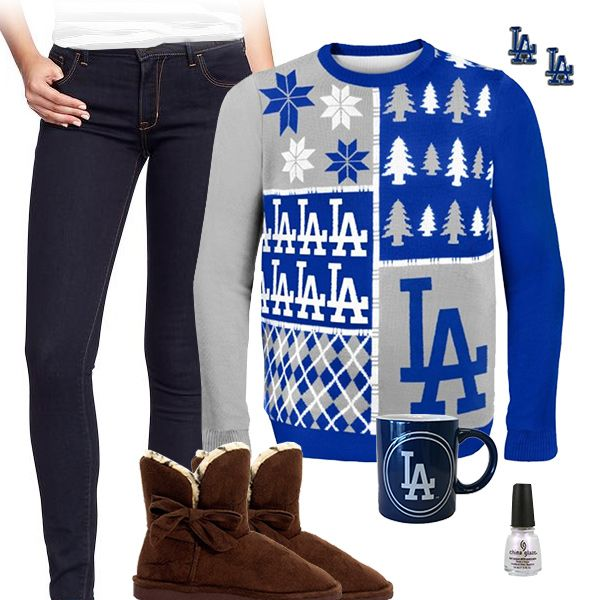 Los Angeles Dodgers Sweater Outfit Los Angeles Dodgers Fashion