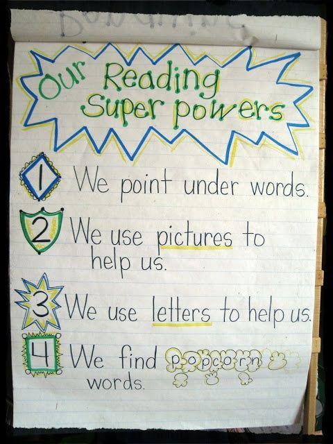 Reading Super Powers anchor chart from Mrs  Jones's Kindergarten