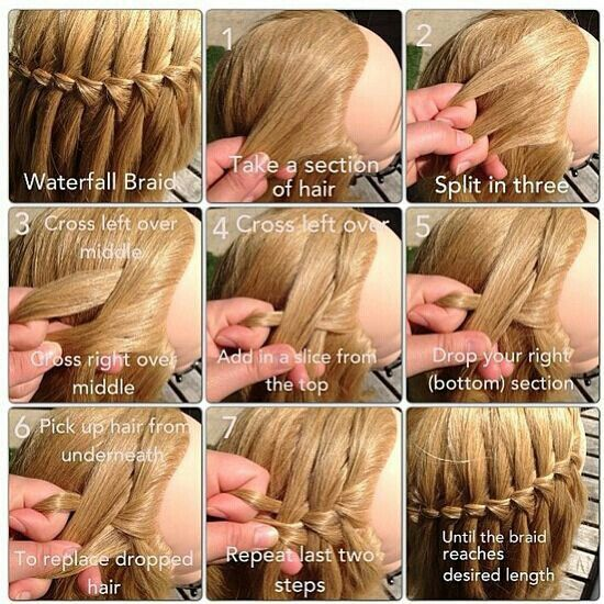 Ever Want A Nice Hairstyle For School Or Everyday This Is The Waterfall Braid Step By Step It S Really Pretty But Take A While You Might Co Hair Hair