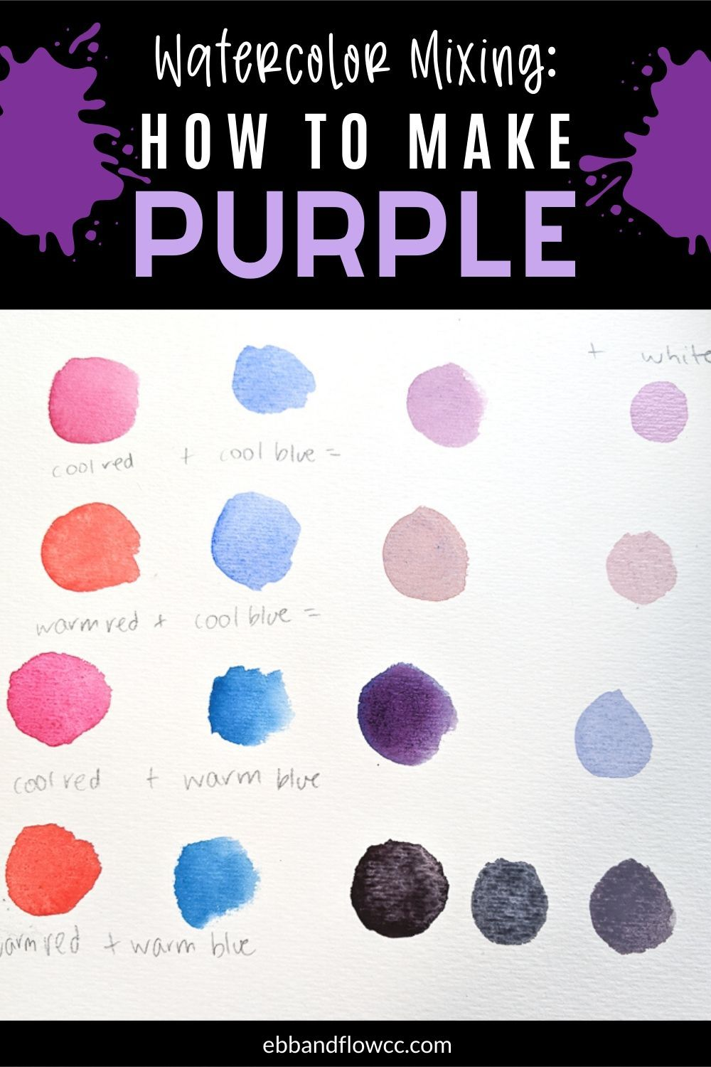 How To Mix Purple Watercolor Purple Watercolor Watercolor Mixing How To Make Purple
