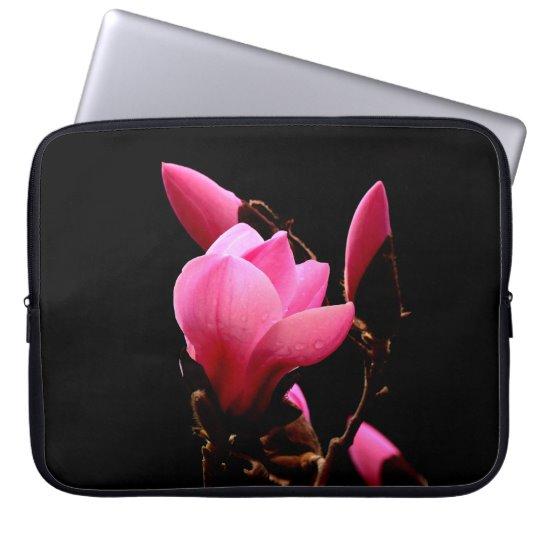 Pink Magnolia On a Black Background Laptop Sleeve | Zazzle.com #AlexLyubarFineArtPhotography#VancouverCanada #PinkMagnolia #BlackBackground #ArtForHome #FineAftPrint