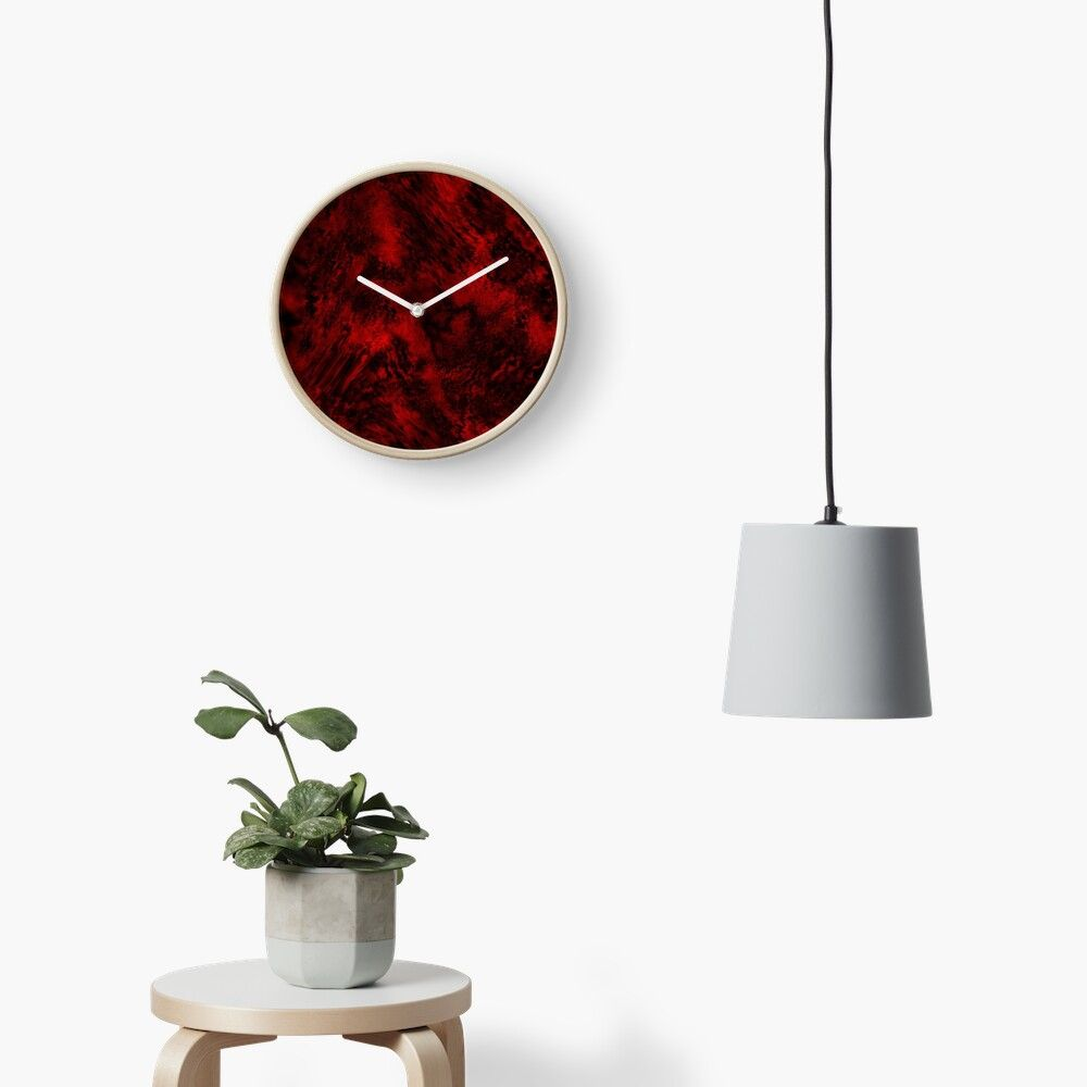 Red And Black Wave Design Clock By Shardxi In 2020 Clock Wave