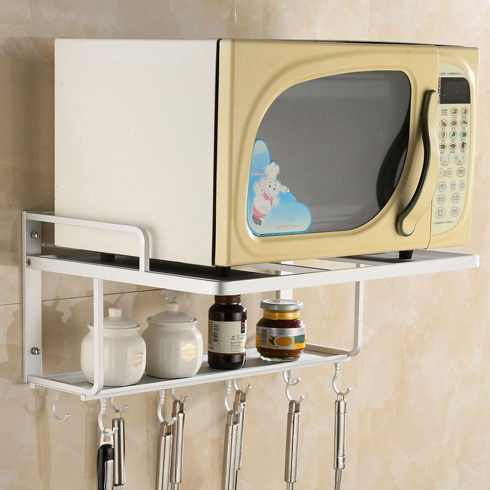 Ecare Double Bracket Alumimum Microwave Oven Wall Mount Shelf With Removable Hook