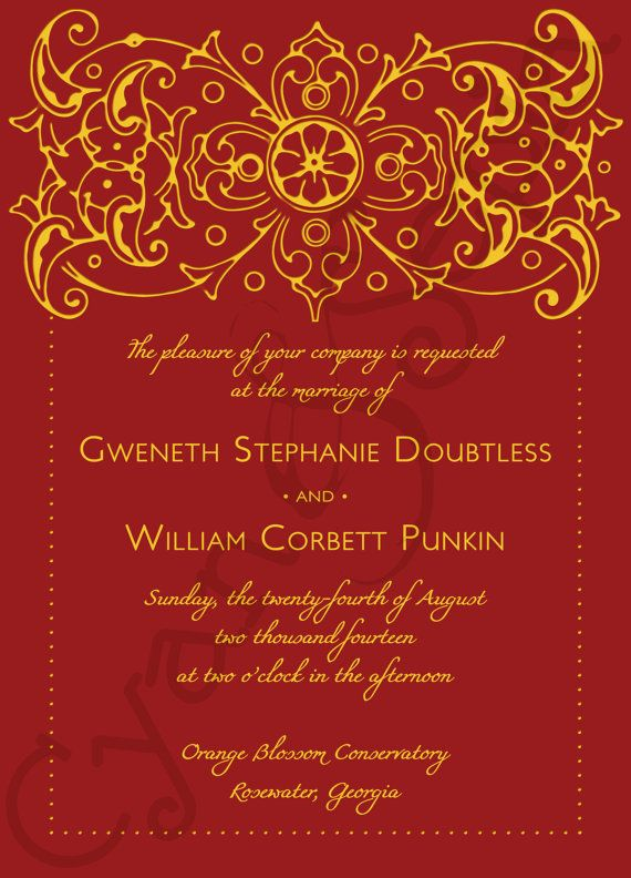 Printable Wedding Invitation : Bollywood Ornate, Other Colors Available :  Formal Filigree Antique Hollywood Elegant