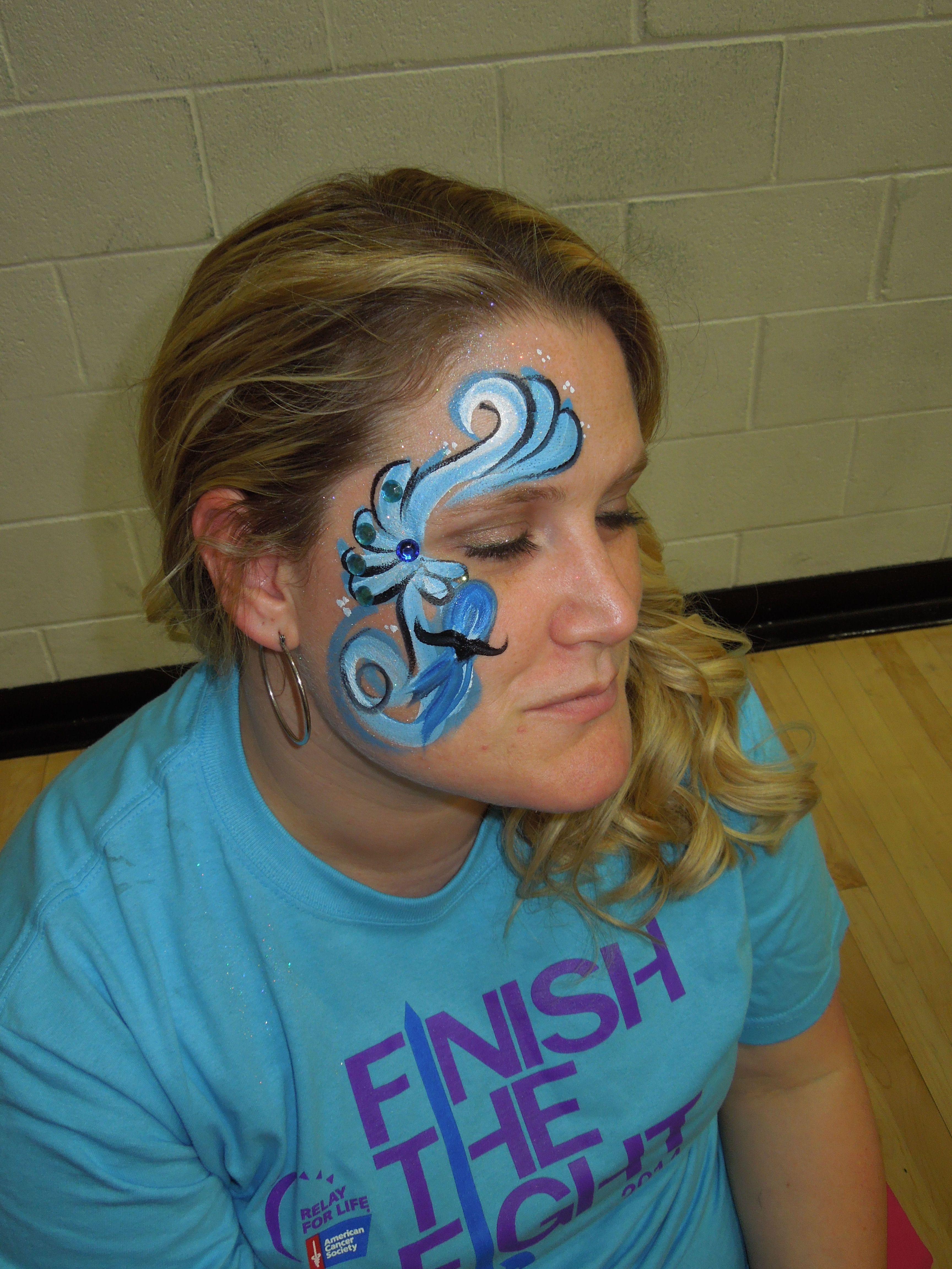 one stroke painted cancer moustache ribbon chicagofacepainter