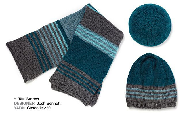 Ravelry: #05 Teal Scarf and Hat by Josh Bennett