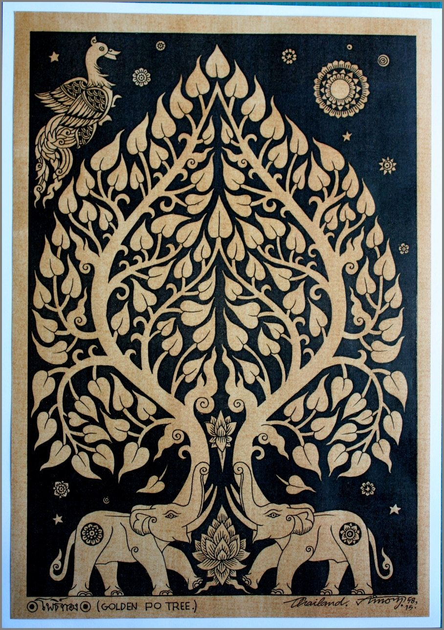 Thai traditional art of Art Ayutthaya Name Tree by printing on sepia paper