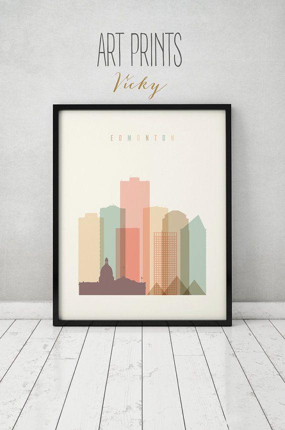 Edmonton print, poster wall art, Edmonton Alberta Canada skyline ...