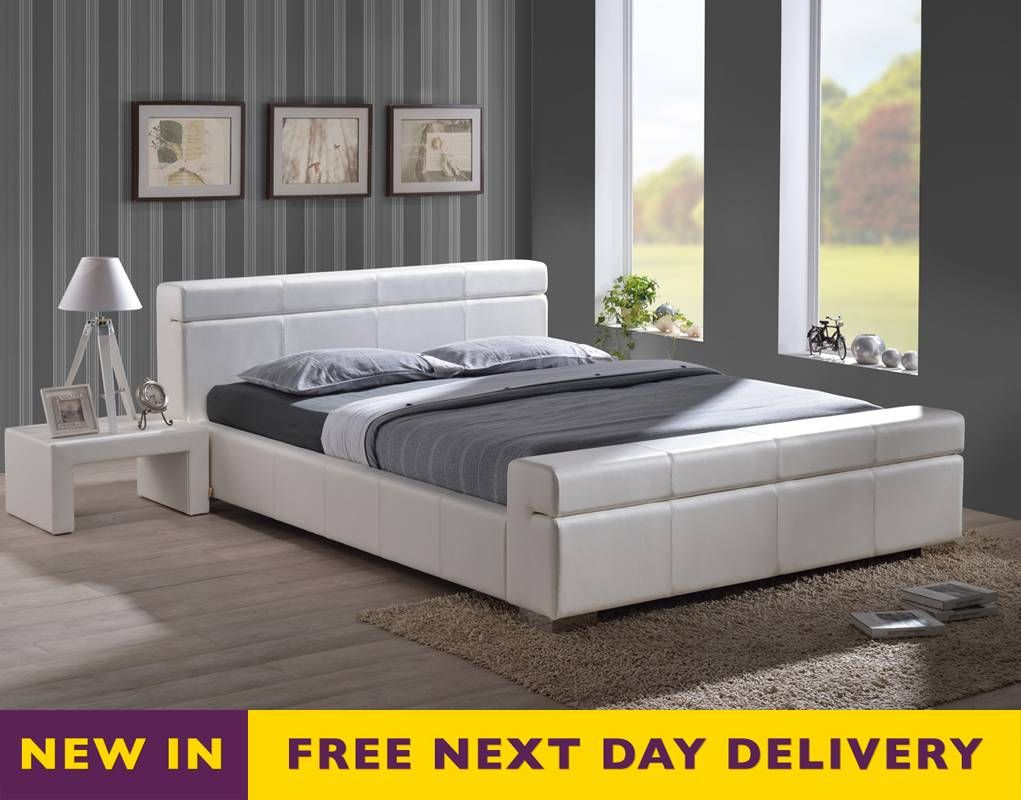Time Living 5ft King Size Durham White Faux Leather Bed Leather