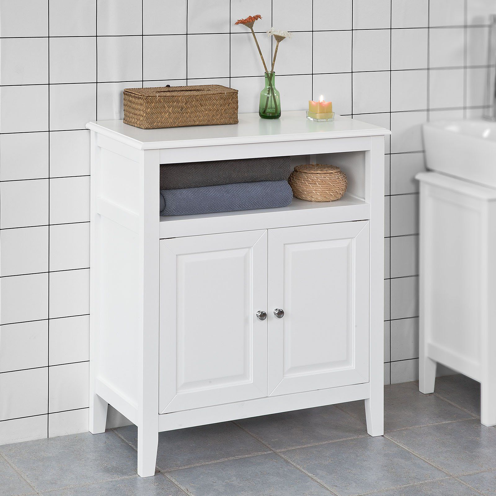 Haotian White Floor Standing Tall Bathroom Storage