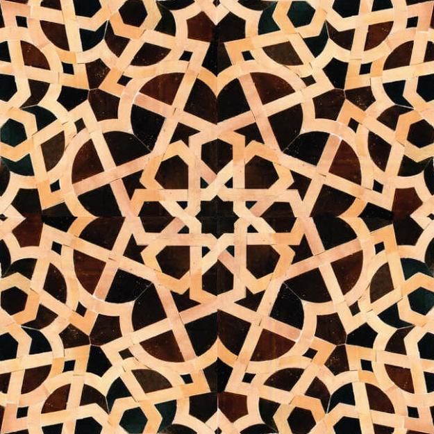 Moroccan Tile Design For Living Room And Terrace Dark Brown Black