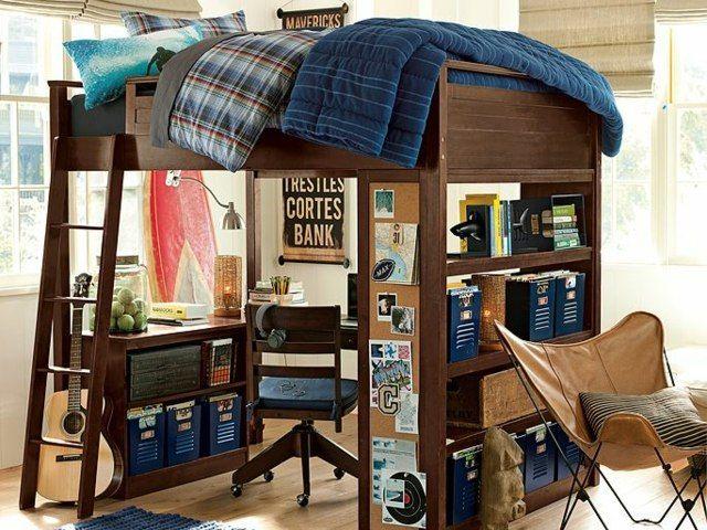 Hochbett aus dunklem holz drehstuhl und schreibtisch schlafzimmerideen hochbett bett und - Drehstuhl kinderzimmer ...